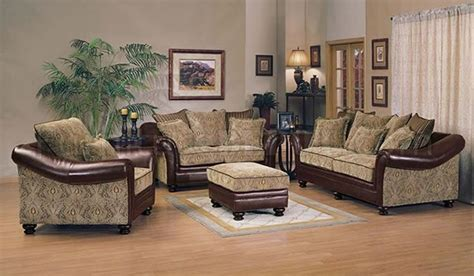 leather and fabric living room sets chenille fabric and bycast leather two tone living room set