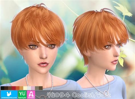 sims 4 short hair sims 4 hairs newsea yu 094 coolish walk