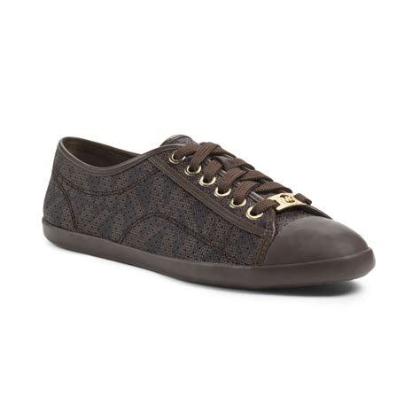 mk sneakers michael kors michael kristy sneakers in brown lyst