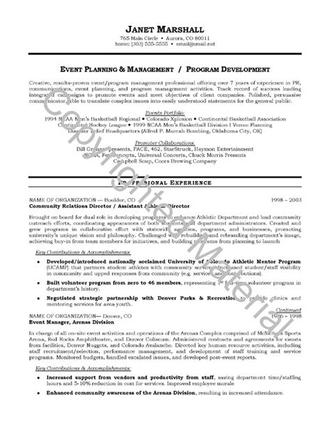 Resume Objective Exles Business Development Resume Objective Sles Event Planning And Management Program Development