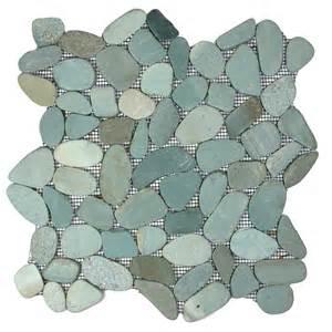 sliced green pebble tile 12 quot x 12 quot river rock stone tile