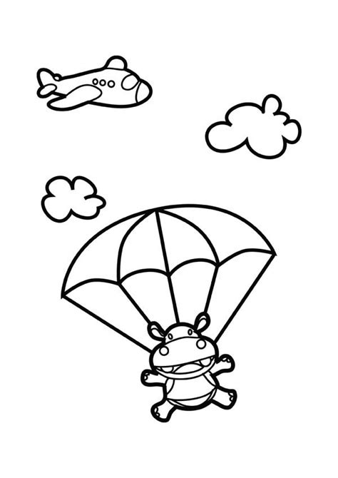skydiving hippo coloring page netart