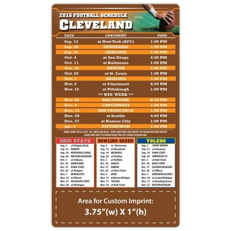 cleveland browns pro football schedule magnets 4 quot x 7