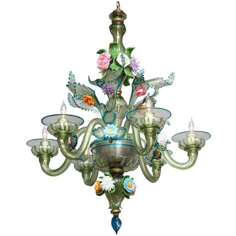 A Six Light Italian Murano Glass Chandelier At 1stdibs Murano Glass Chandelier Italy