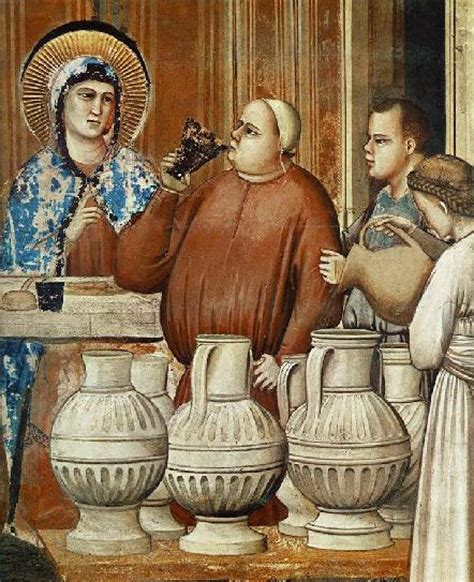 Wedding At Cana Eucharist by The Marriage At Cana Giotto 1304 6 Detail