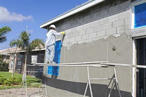 stucco  cinder block wall