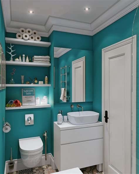 Small And Narrow Bathroom Spaces With Floating Shelves