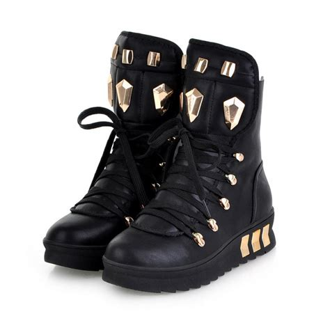 cheap wedge boots cheap winter toe rivets decorated lace up wedge mid