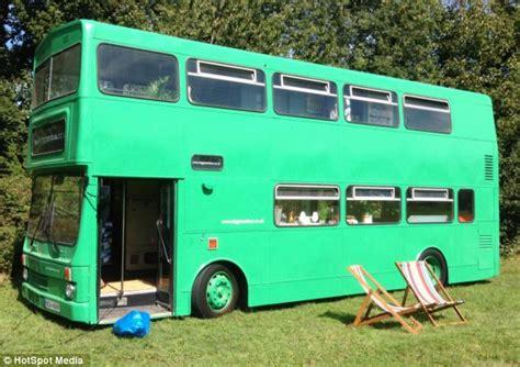 caravan bus big green bus double decker transformed into caravan