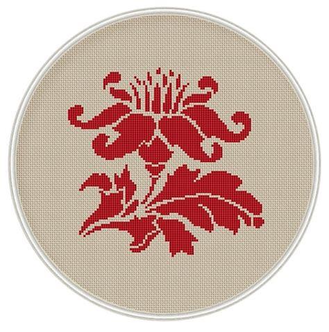 Reddish Cross Stitched Breadboard by Flower Cross Stitch Pattern Cross Stitch Chart Cross