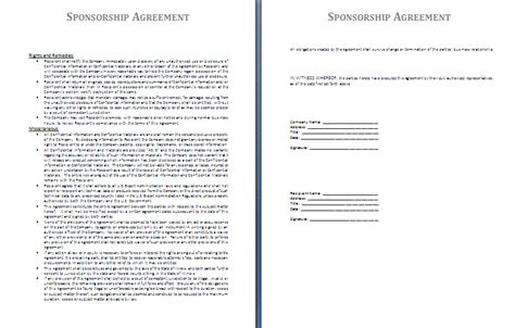 template for sponsorship sponsorship agreement template free agreement templates