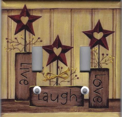 country star decorations home country barn star live love laugh home decor double light