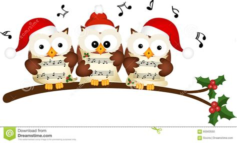 christmas owls choir singing stock vector image 60563550