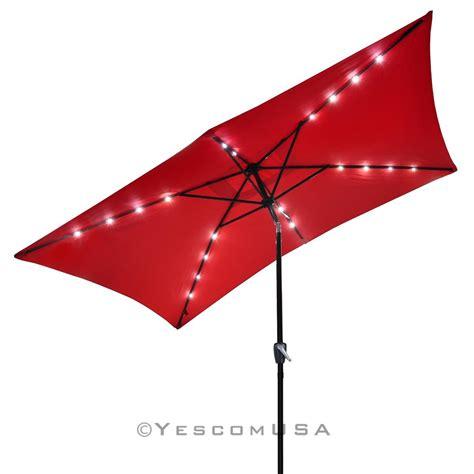Waterproof Patio Umbrellas 10 X6 5 Patio Solar Umbrella Led Light Tilt Deck Waterproof Garden Market Ebay