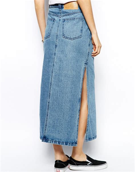 cheap monday denim maxi skirt in blue lyst