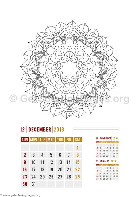 2018 coloring calendar books 2018 calendar mandala zentangle a4 wall coloring pages