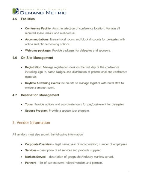 rfp requirements template event management rfp template