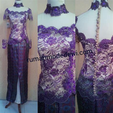 Kebaya Tile Panjang kebaya ungu asimetris kerah tinggi rok panjang