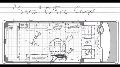 Motorhome Floor Plans 4g vlog office camper van floor plan youtube