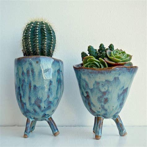 Handmade Ceramic Planters - handmade ceramic tripod planter by kabinshop