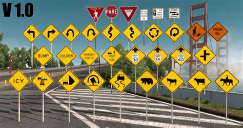 signs that a is traffic signs pack v1 2 more sign assets mod american truck simulator mods