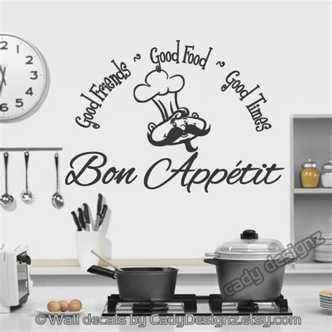 Kitchen Decor Bon Appetit Bon Appetit Vinyl Wall Decal Kitchen Decor By Studio378decals