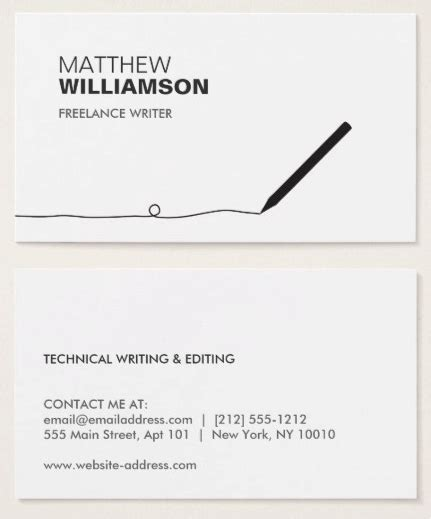 journalist business card template writer business cards authors writers business card