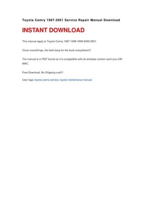toyota camry 1997 2001 service repair manual pdfsr com toyota camry 1997 2001 service repair manual download by sazyrt issuu