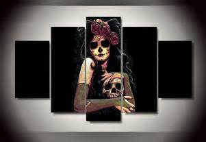 Day Of The Dead Home Decor by Framed Printed Day Of The Dead Face Group Painting Room