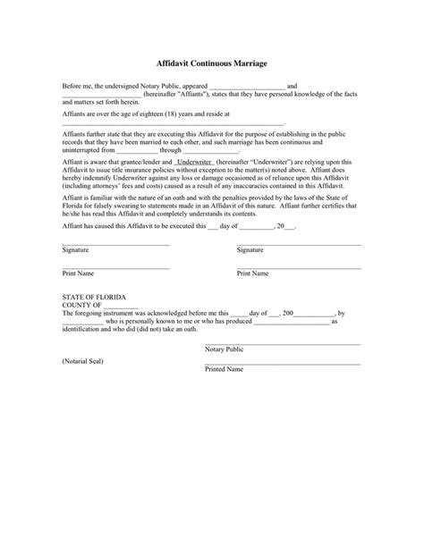 florida affidavit of continuous marriage in word and pdf