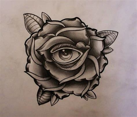eye rose tattoo with eye design 2 by thirteen7s on deviantart