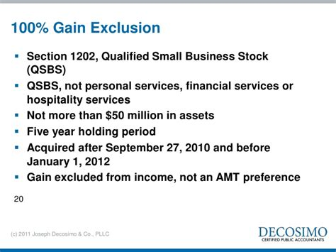 section 1202 exclusion tax issues and planning 2011