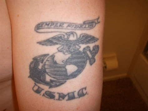semper fi tattooed on his left arm my husband has given the usmc 27 great years of his