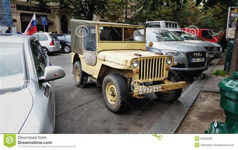 old yellow jeep canvas body top willys cj 2a in prague editorial photo