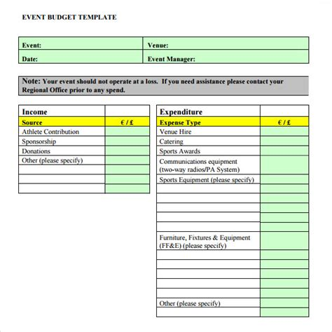event budget template sle event budget 8 documents in pdf word excel
