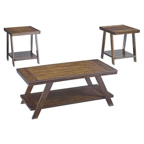 bradley 3 coffee table set in burnished brown