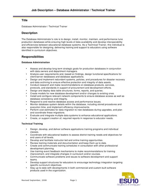 Technical Trainer Description by Description Database Administrator Technical Trainer