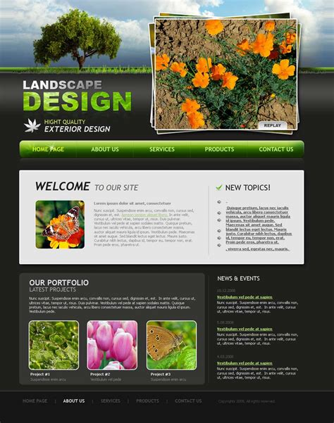home design website free landscape design website template id 300110026