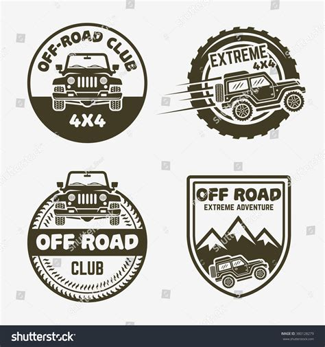 Auto Logo S 4x4 by Set Four Offroad Suv Car 4x4 Stock Vector 380128279