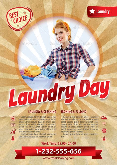 laundry flyers templates retro laundry day flyer template 117 by 21min graphicriver