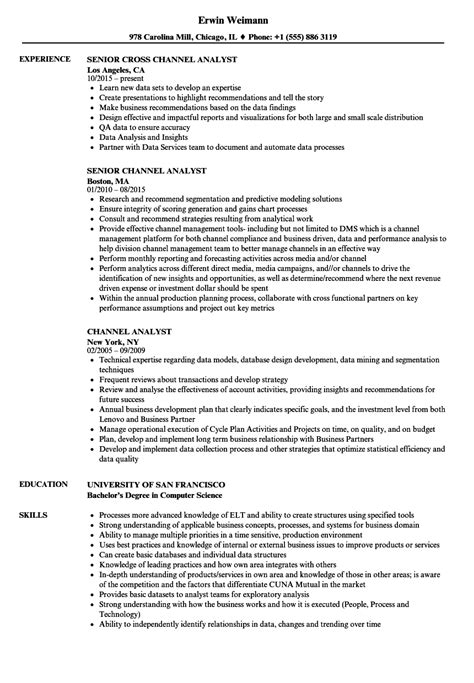 Network Analyst Resume Exle by Channel Analyst Resume Sles Velvet