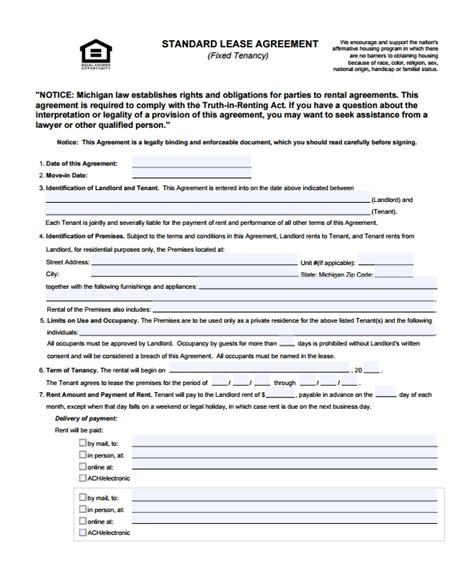 8 Sle Standard Lease Agreements Sle Templates Standard Lease Template