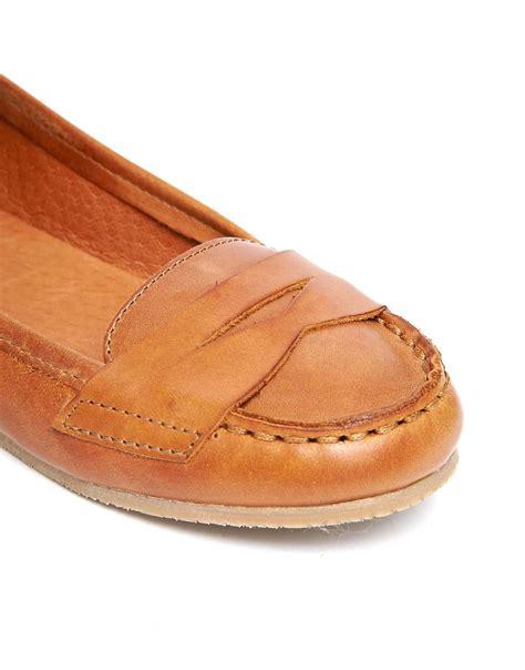 shoe biz shoe biz shoe biz cognac leather flat shoes at asos