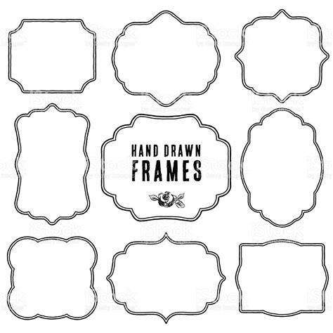 set of vintage contour blank frames and labels stock