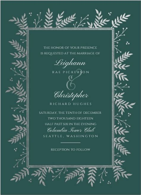 time frame for mailing out wedding invitations silver foil foliage frame wedding invitation