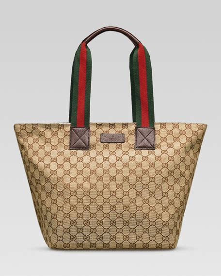 Coming New Gucci Web Leather With 2 Straps Medium gucci original gg canvas tote with signature web straps brown