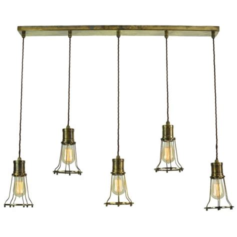 Industrial Style Island Lighting 5 Light Mutiple Pendant Breakfast Bar Light With Metal Cage Shades