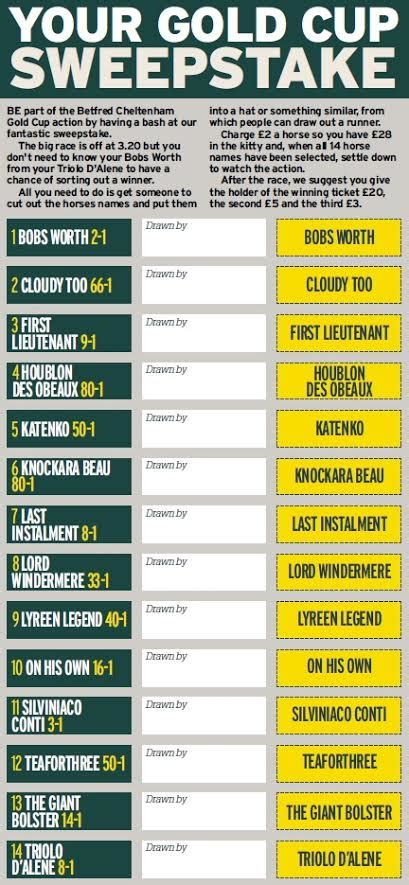 Cheltenham Gold Cup Sweepstake - cheltenham gold cup sweepstake kit download and and pick your winner