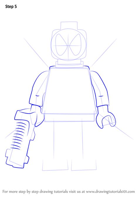 step by step how to draw lego deadpool