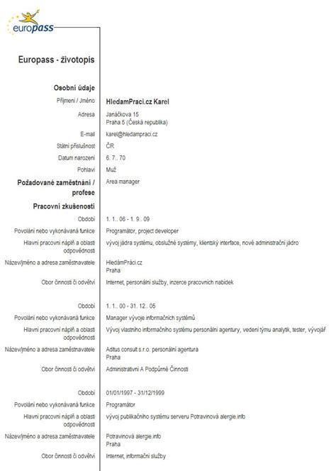 europsky format cv v slovencine životopis vzor strukturovan 253 životopis